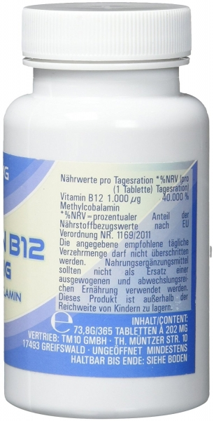 Vitamin B12 (Methylcobalamin) -  365 vegane sublinguale Tabletten - 12 Monate Vorrat